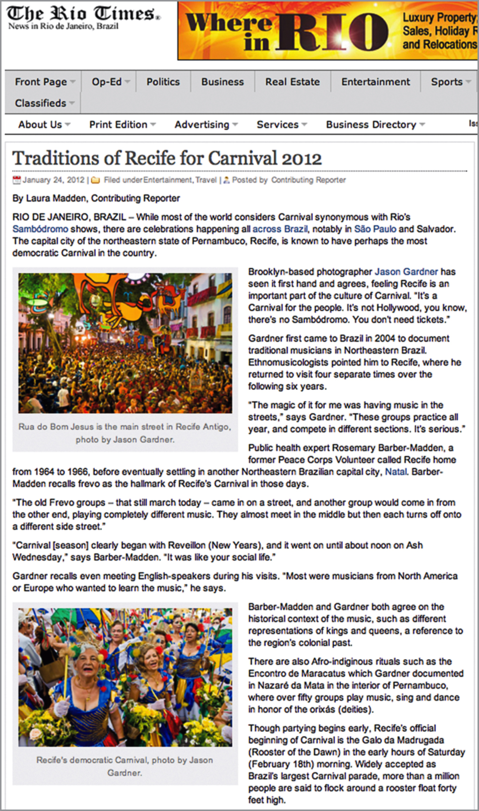 """"""" Traditions of Recife for Carnival 2012 ,""""   The Rio Times,January 24, 2012"""