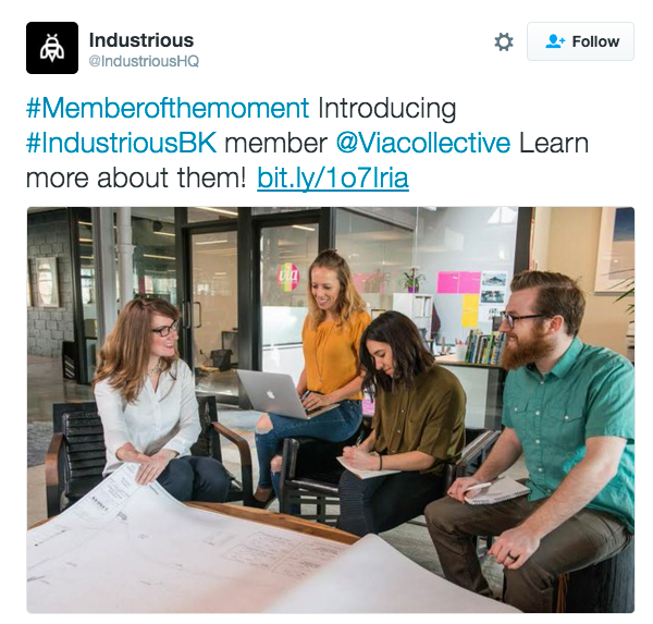 Industrious is a Brooklyn Co-working space which is home to Via Collective and a number of other small businesses. I was flattered when they tweeted out my photo. Thanks Industrious!