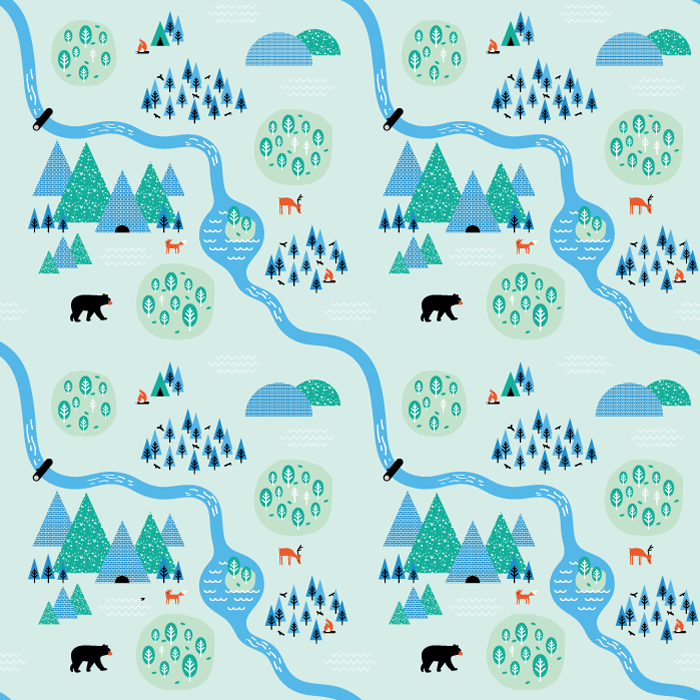 Forest illustration I created based on a tutorial for illustrative patterns.
