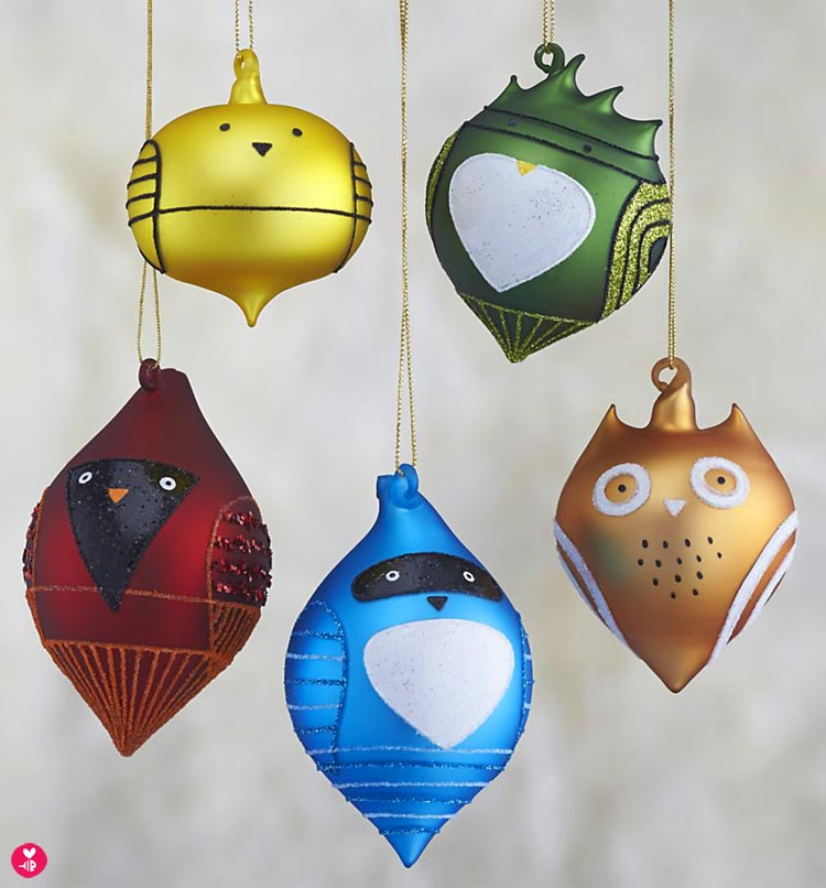 Set of five blown glass bird ornaments