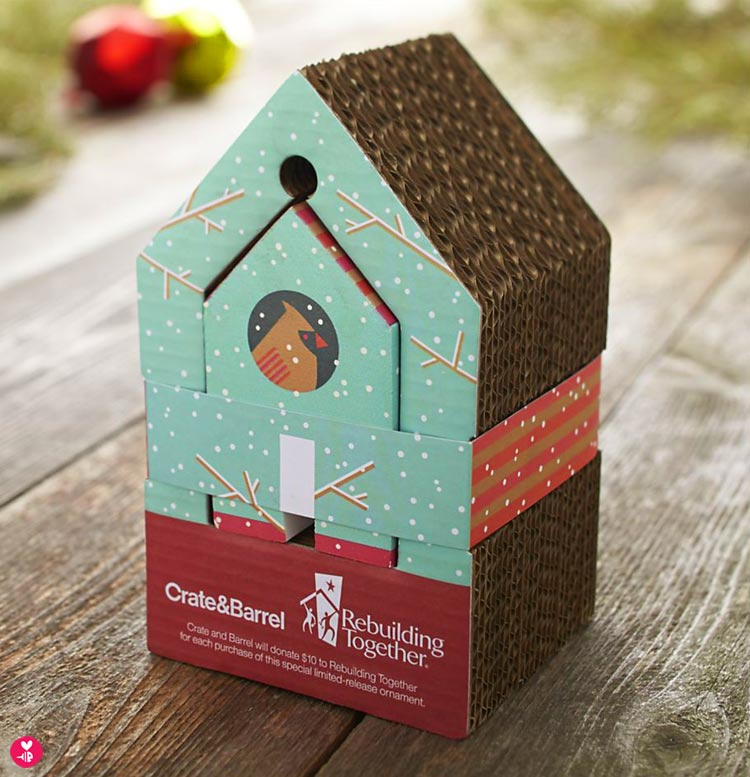 Super cute packaging for the cardinal house ornament