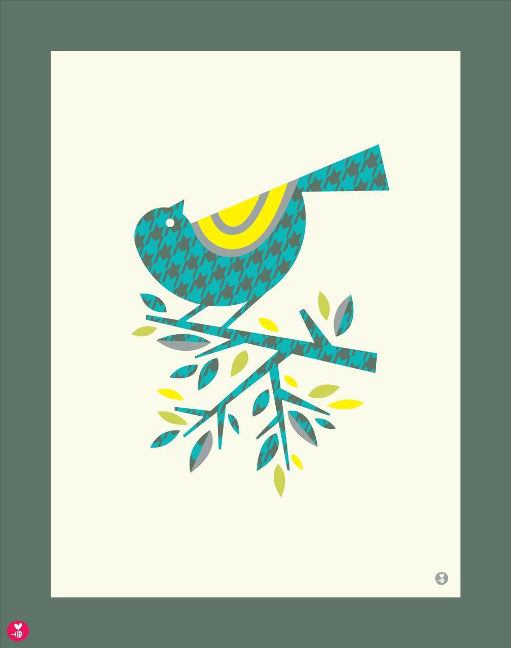 houndstooth warbler limited edition print
