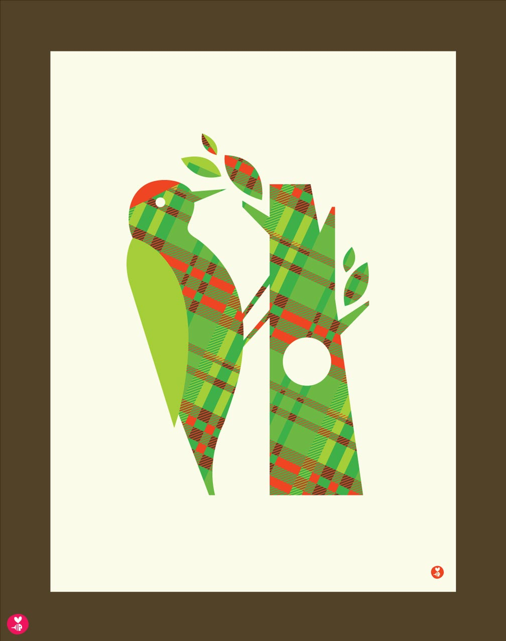 plaid woodpecker limited edition print