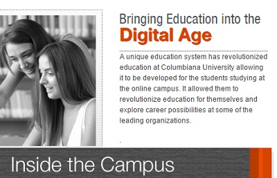 A portion of a screenshot from Columbiana University's website
