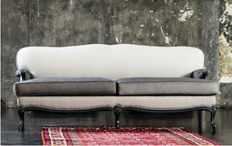 Two-tone grey velvet fabric make this elegant french sofa perfect for today's interiors.