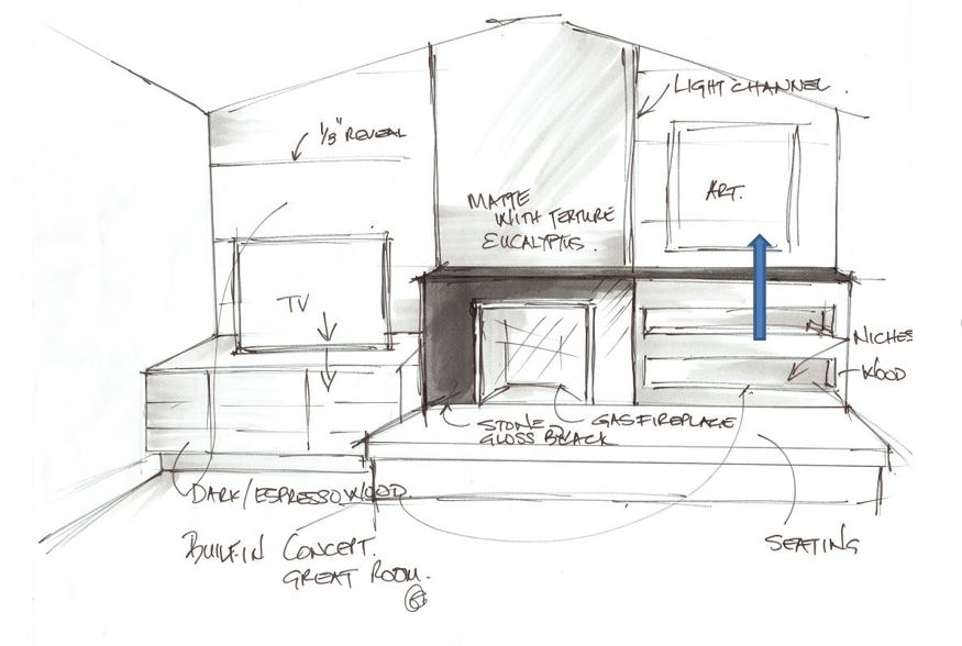 This was my initial design sketch for the main wall in the family room.. I wanted the whole wall to be a BOLD statement and the TV to hide within the cabinet… floor to ceiling treatment with walnut wood.