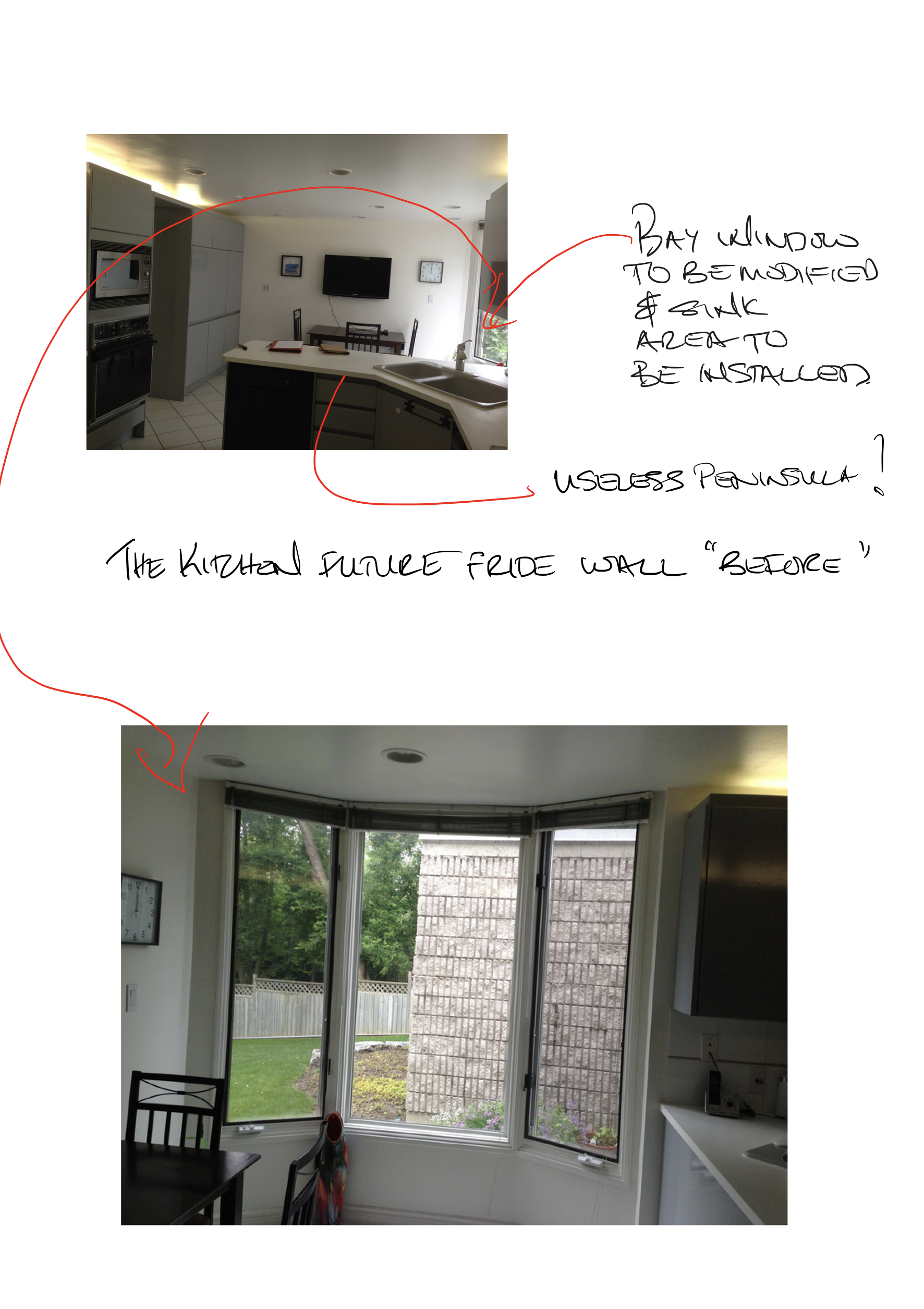 These are a couple 'before' images of the area where I wanted to put the fridge and sink area…the challenge was to remove the bay window and modify it to accommodate a sink with a window.