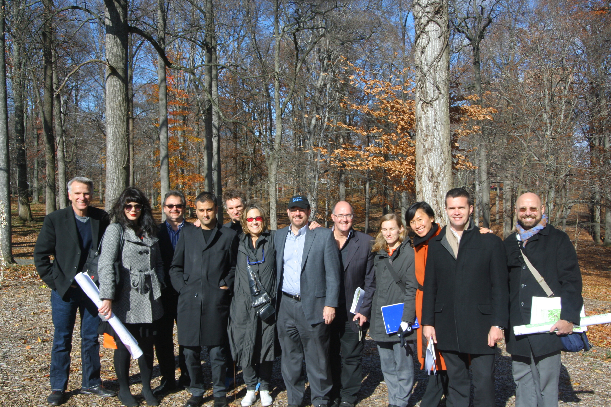 Inner Arbor Trust design team, on the site of The Butterfly guest services building in Symphony Woods, on November 19, 2013