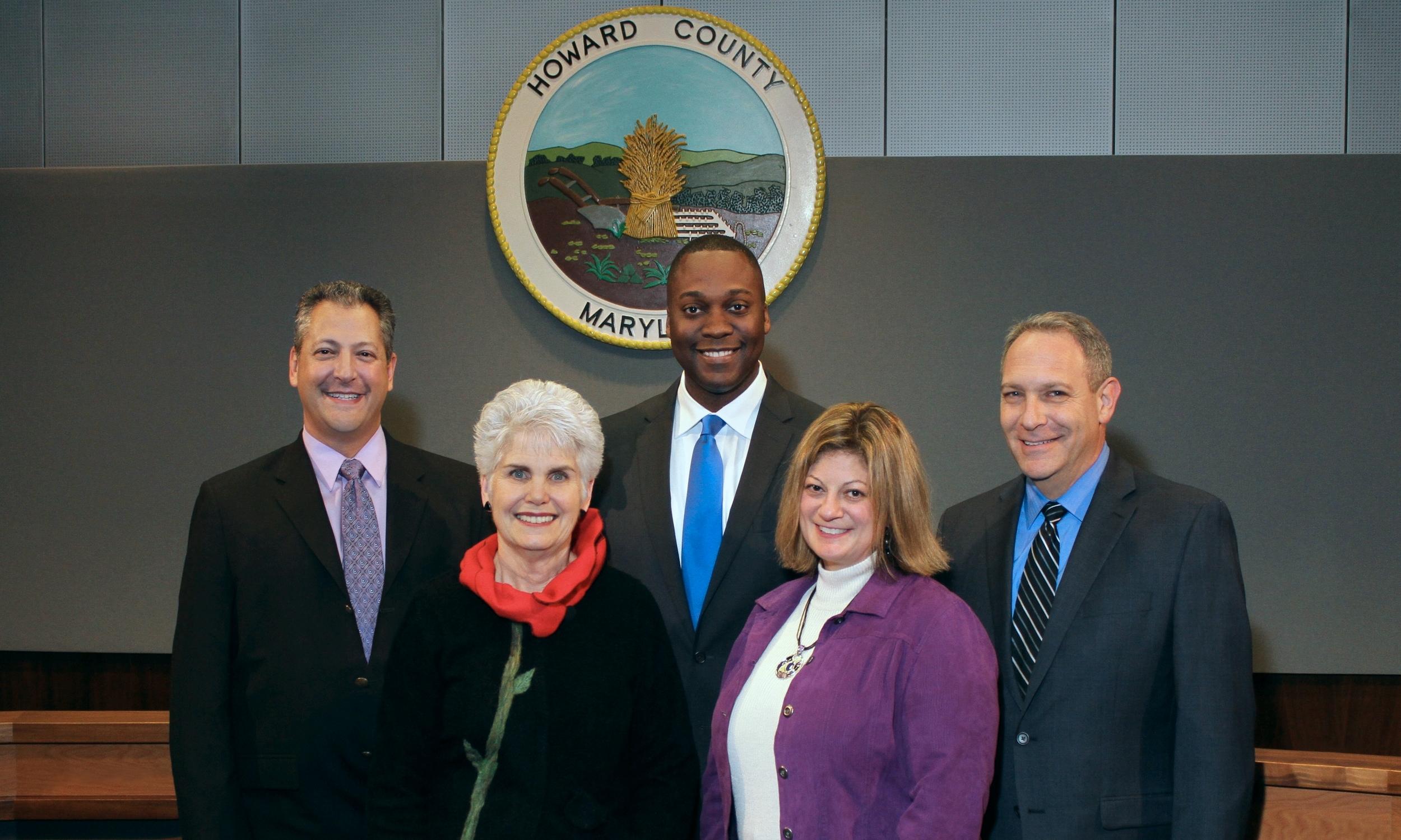 Howard County Council, from left to right: Greg Fox, Mary Kay Sigaty, Calvin Ball, Jen Terrasa, Calvin Ball, Jon EINSTEIN