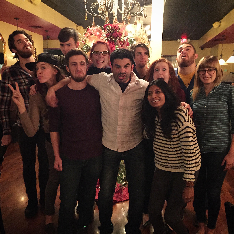 Christmas Dinner ~Back Row (Left to Right): Zach W., Zach J., Katie, Joe, Jeff; Middle Row (Left to Right): Alex, Evan, Sal, Allison, Bonnie; Front Row: Shivani