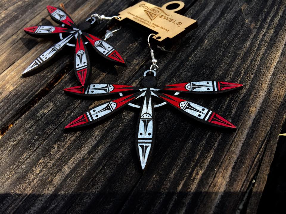 Wooden Laser Made Dragonfly Earrings