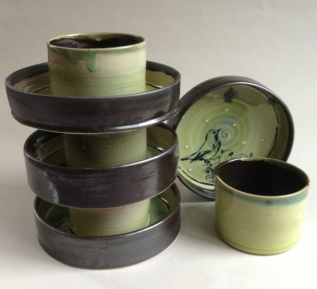 pottery cups and bowls