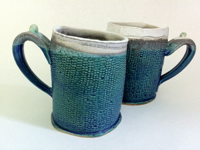 stoneware mugs in blue and white