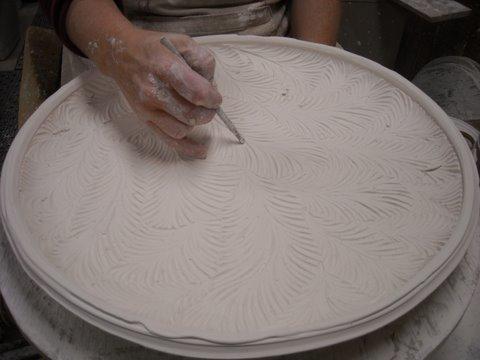 carved porcelain platter