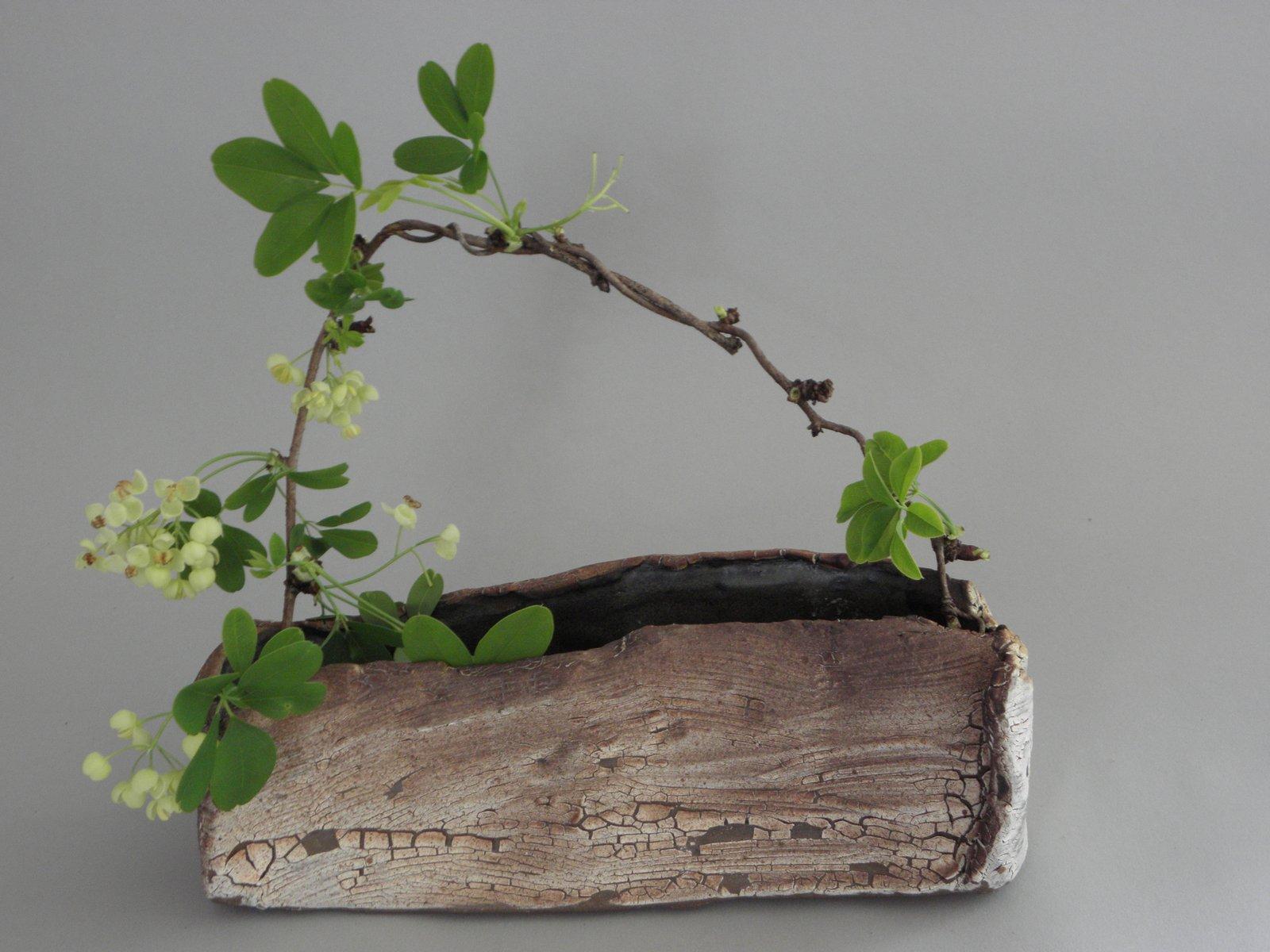 ikebana vase and arrangement