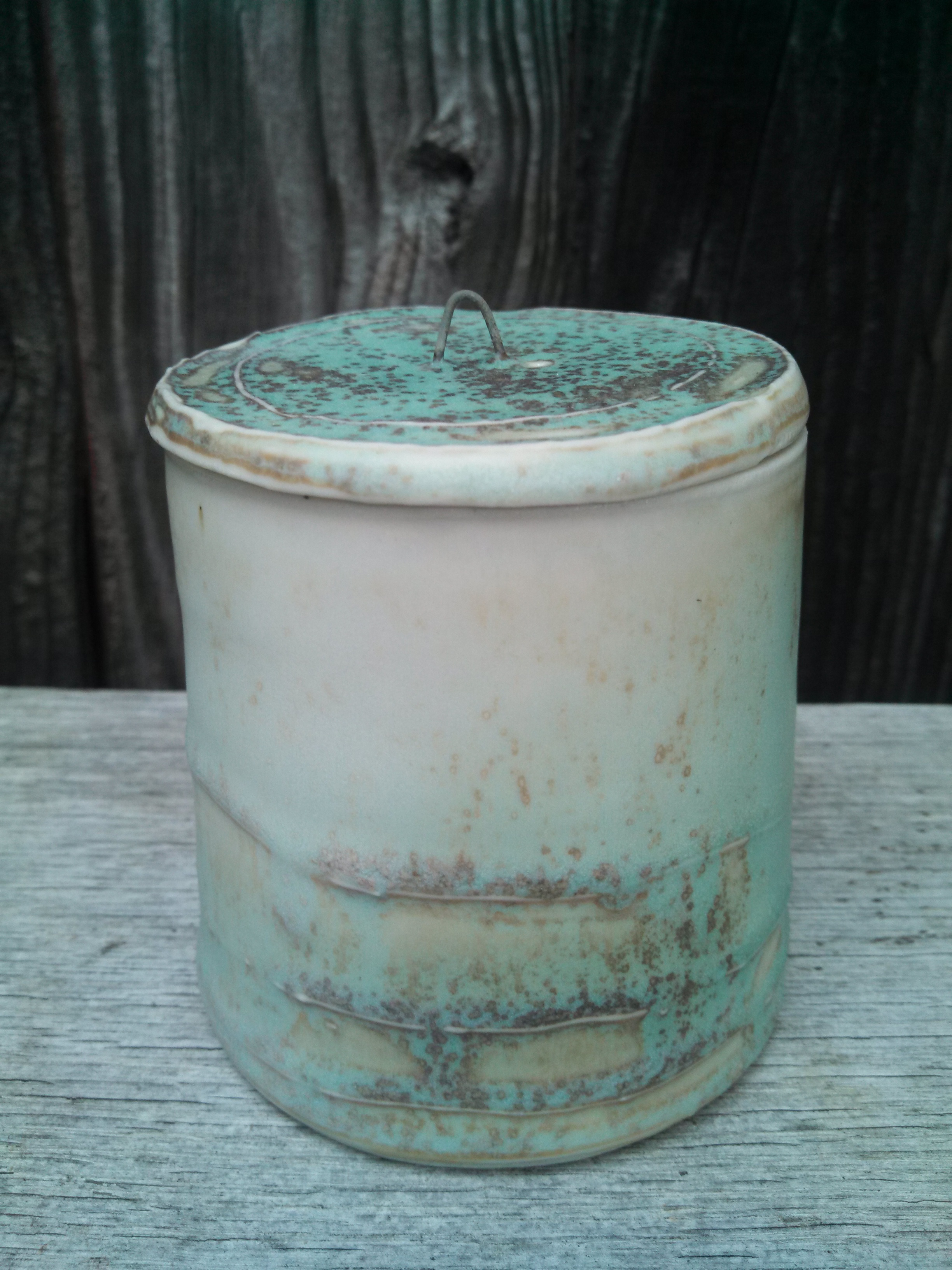 handmade ceramic lidded jar