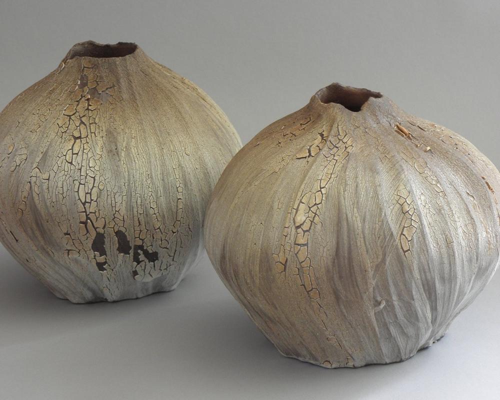 handmade ikebana pottery vases by Mary Ann Burk
