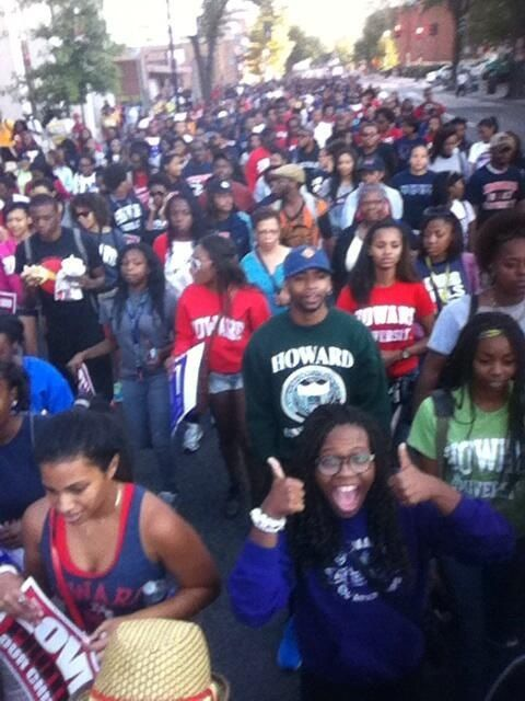 Howard U students, faculty and staff, marching down to the March on Washington & the Lincoln Memorial.