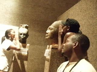 - Angi, Brittany and Robert with Shabaka and Taharqa, Nubian Pharaohs of the 25th Kemetic Dynasty, Nubian Museum, Aswan