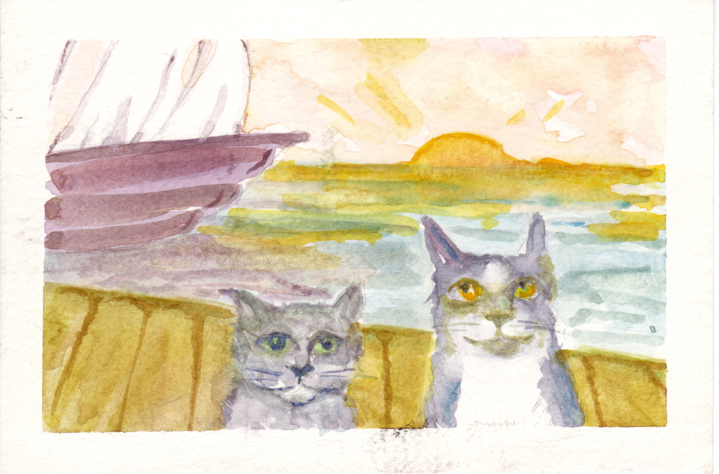 A very early watercolor by Valerie of the cat brothers.