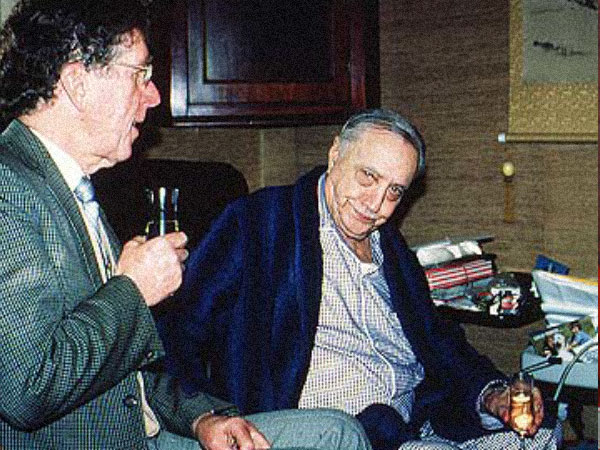 Dr Milton Sims (L) celebrating Dr P R Begg's (R) birthday on October 13, 1982.