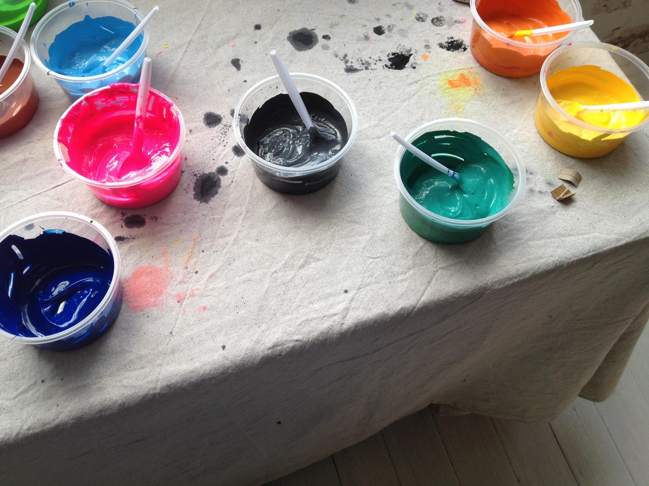 Ink mixing at Rachel Castle/Megan Morton's The School screen printing class.