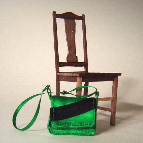 Green Bag (Detail)  approx. 3cm x 3cm x 5cm  Little Old Bag 2005 The Doll's House, Preston