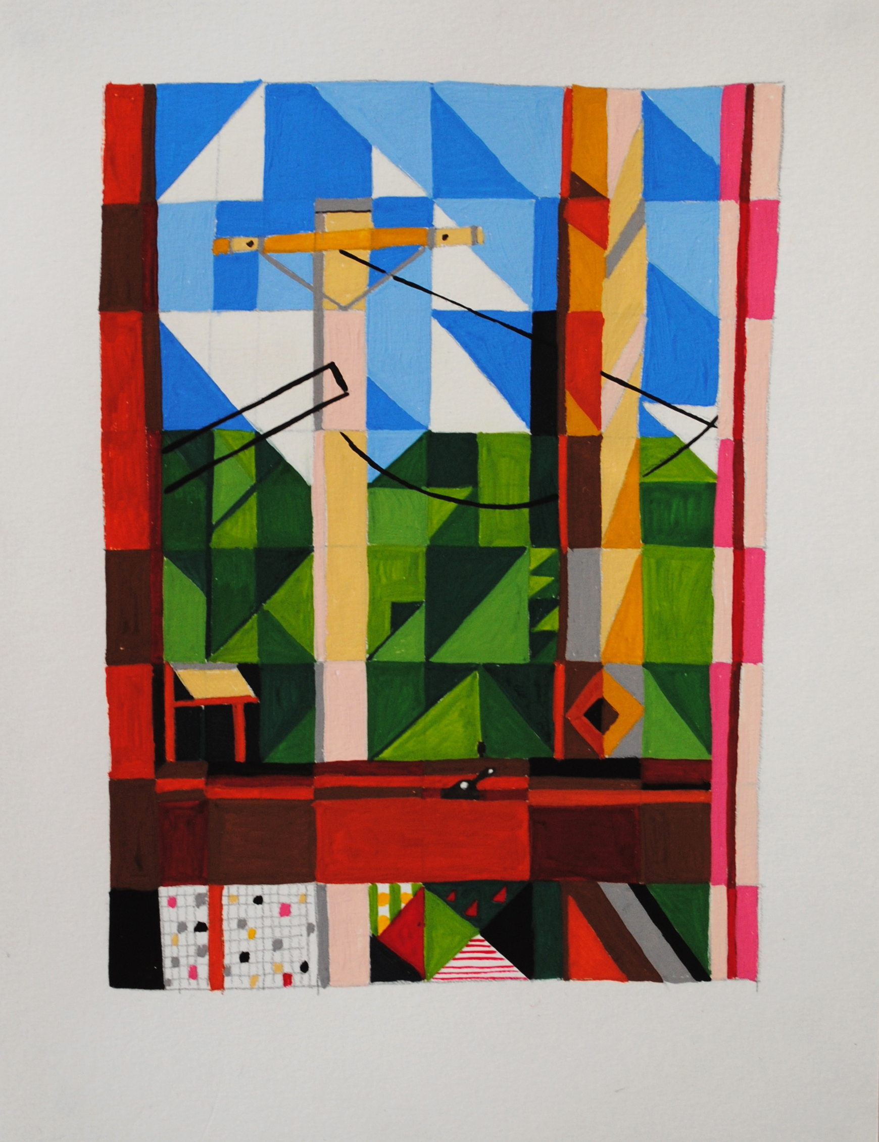 Monty View, Charlie,  2013 15 x 30cm Gouache on paper