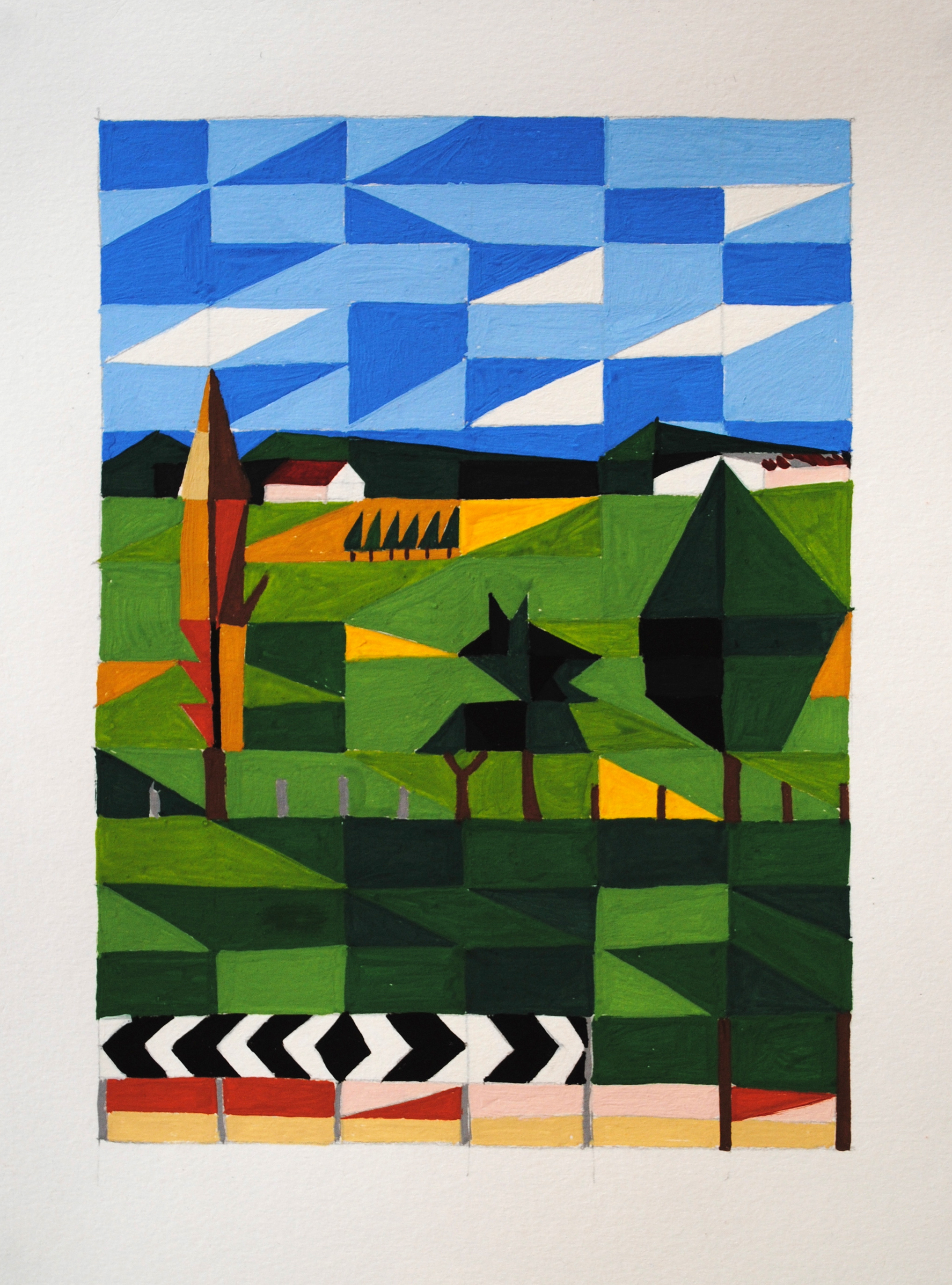 Going back, right of the highway,  2013 15 x 30cm Gouache on paper