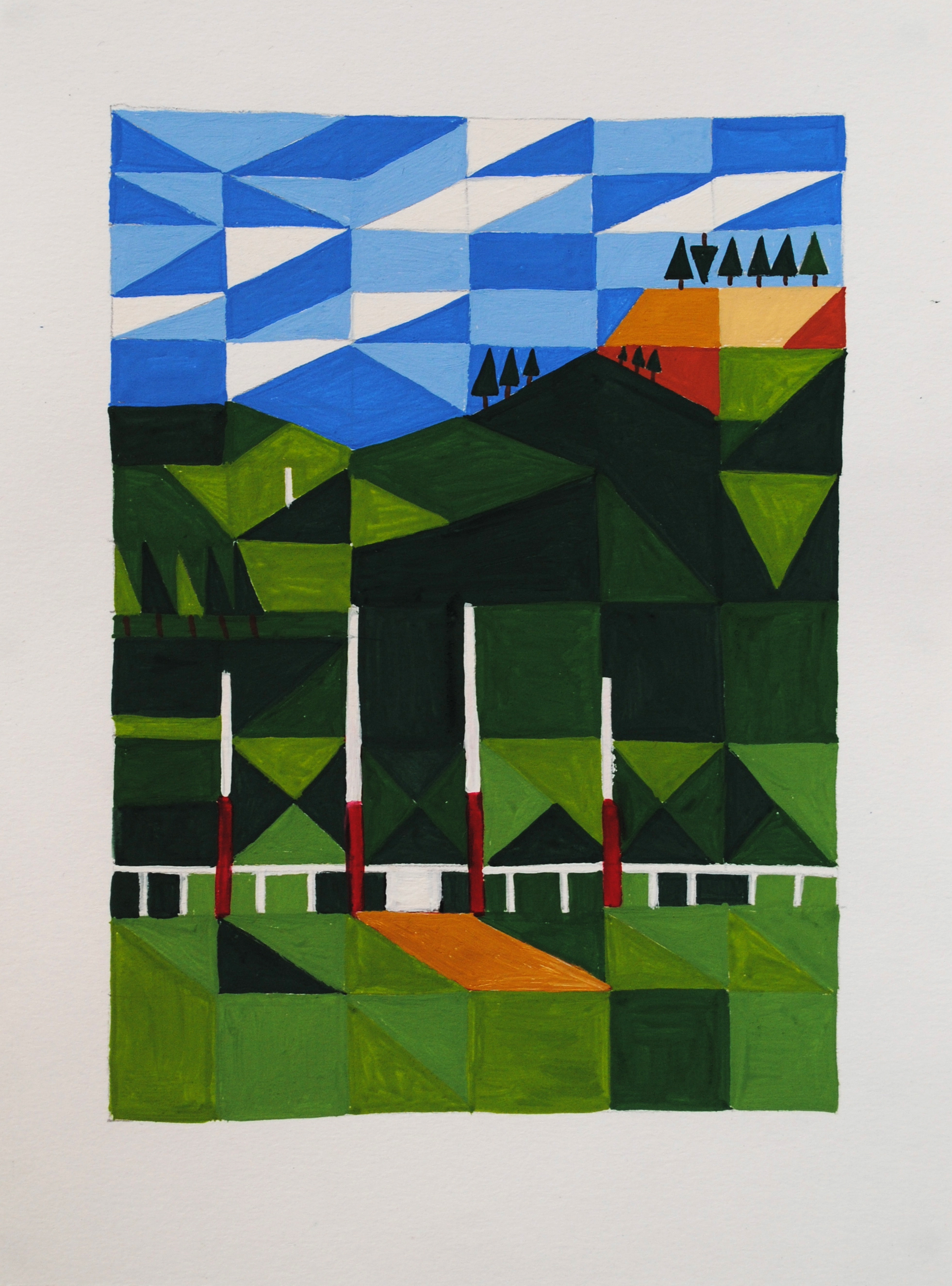 Home ground  2013 15 x 30cm Gouache on paper