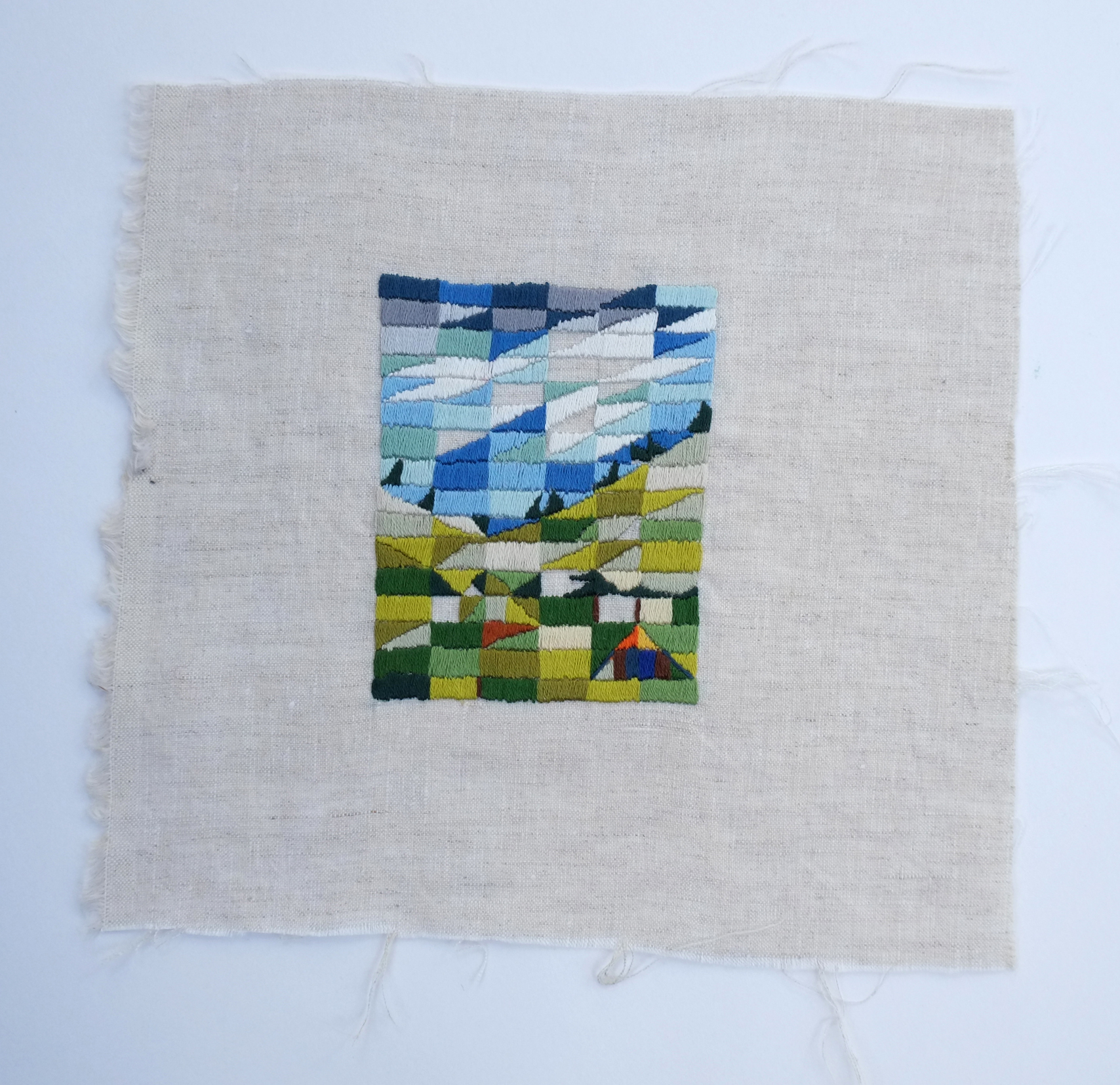 Glen Forbes  2014   cotton thread on linen   22 x 21cm