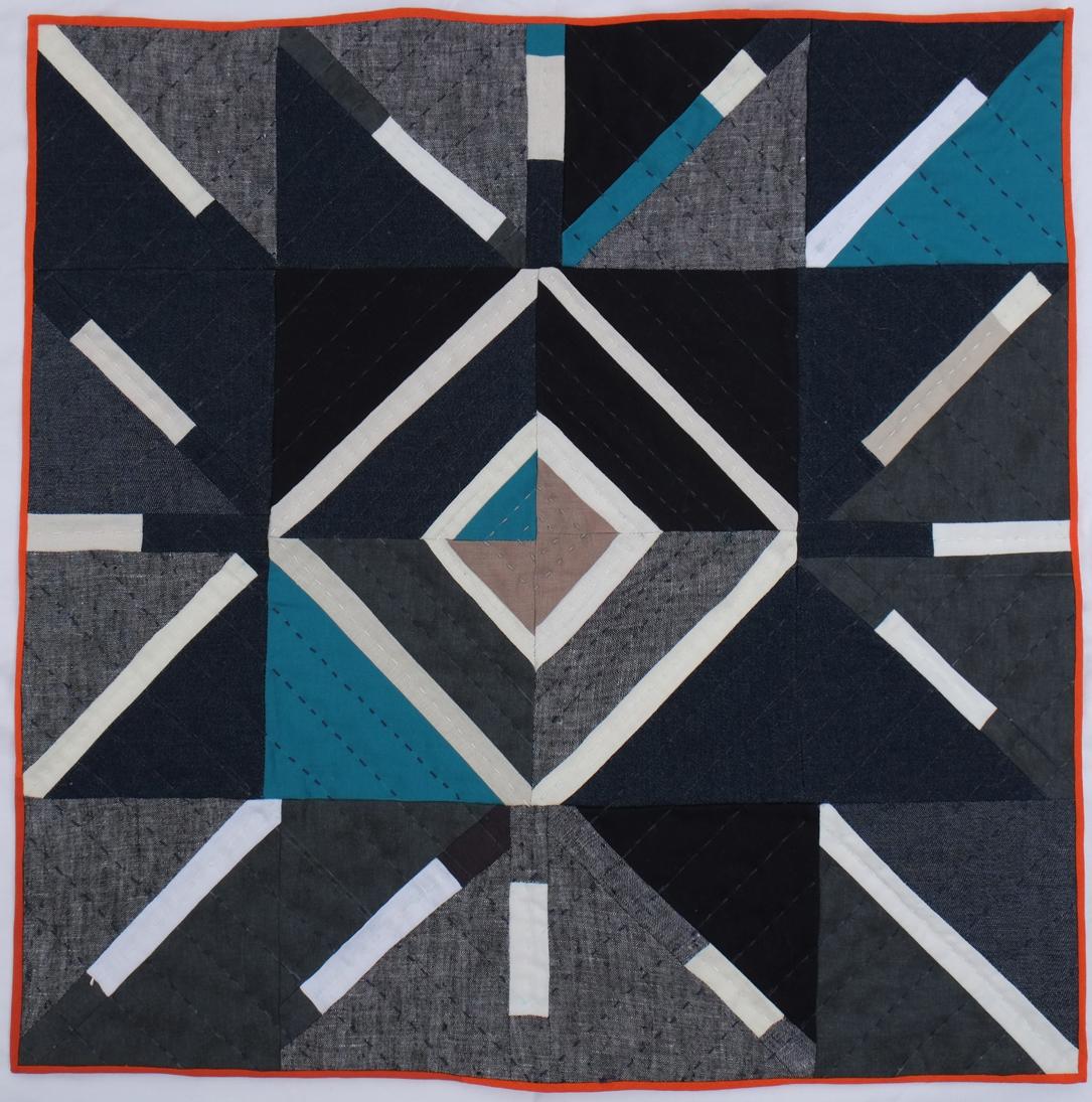 Light  2014 cotton thread,linen & cotton fabric, cotton batting 53 x 53 cm