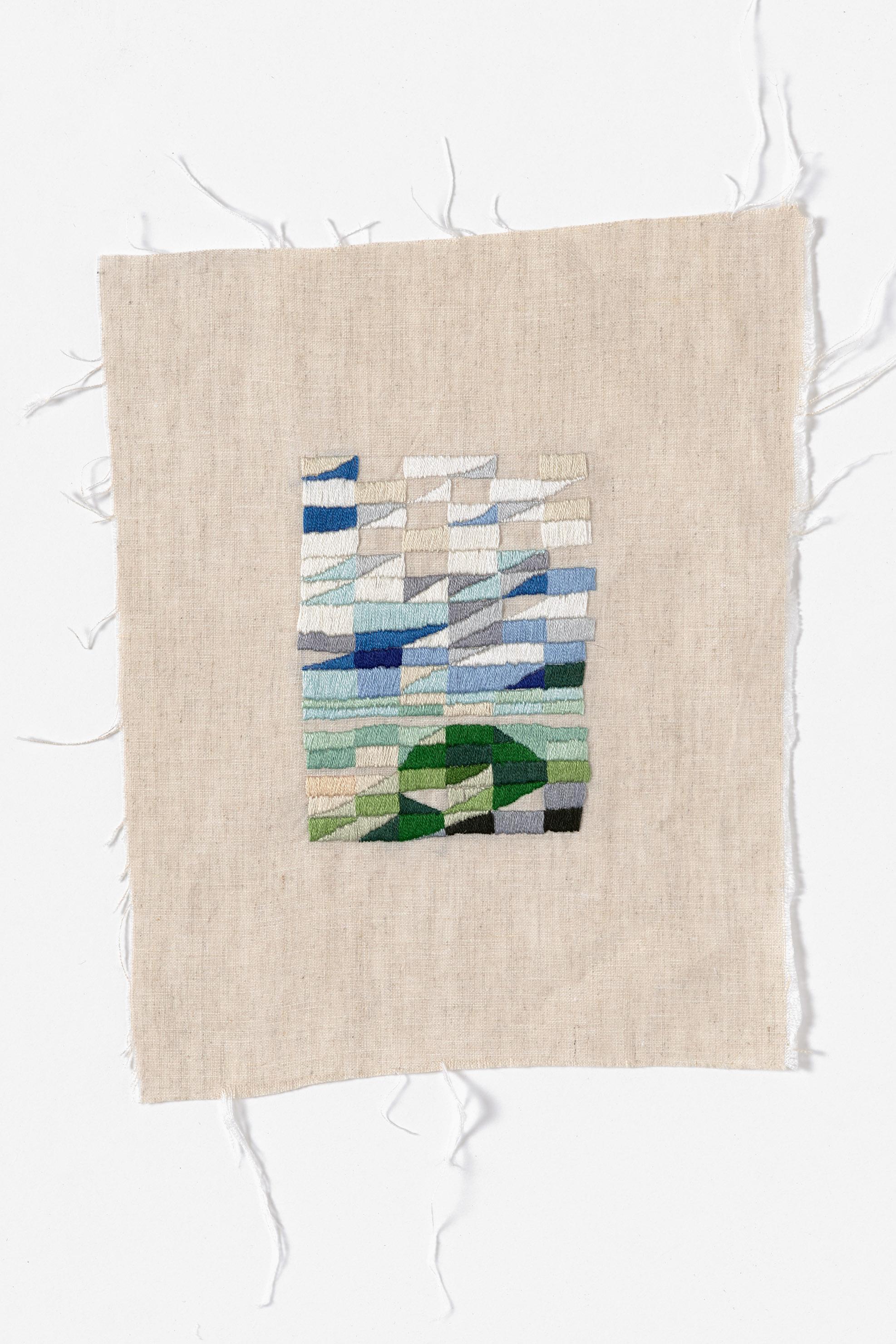 Carpark, Venus Bay  2015 Cotton thread on linen 21 x 27cm