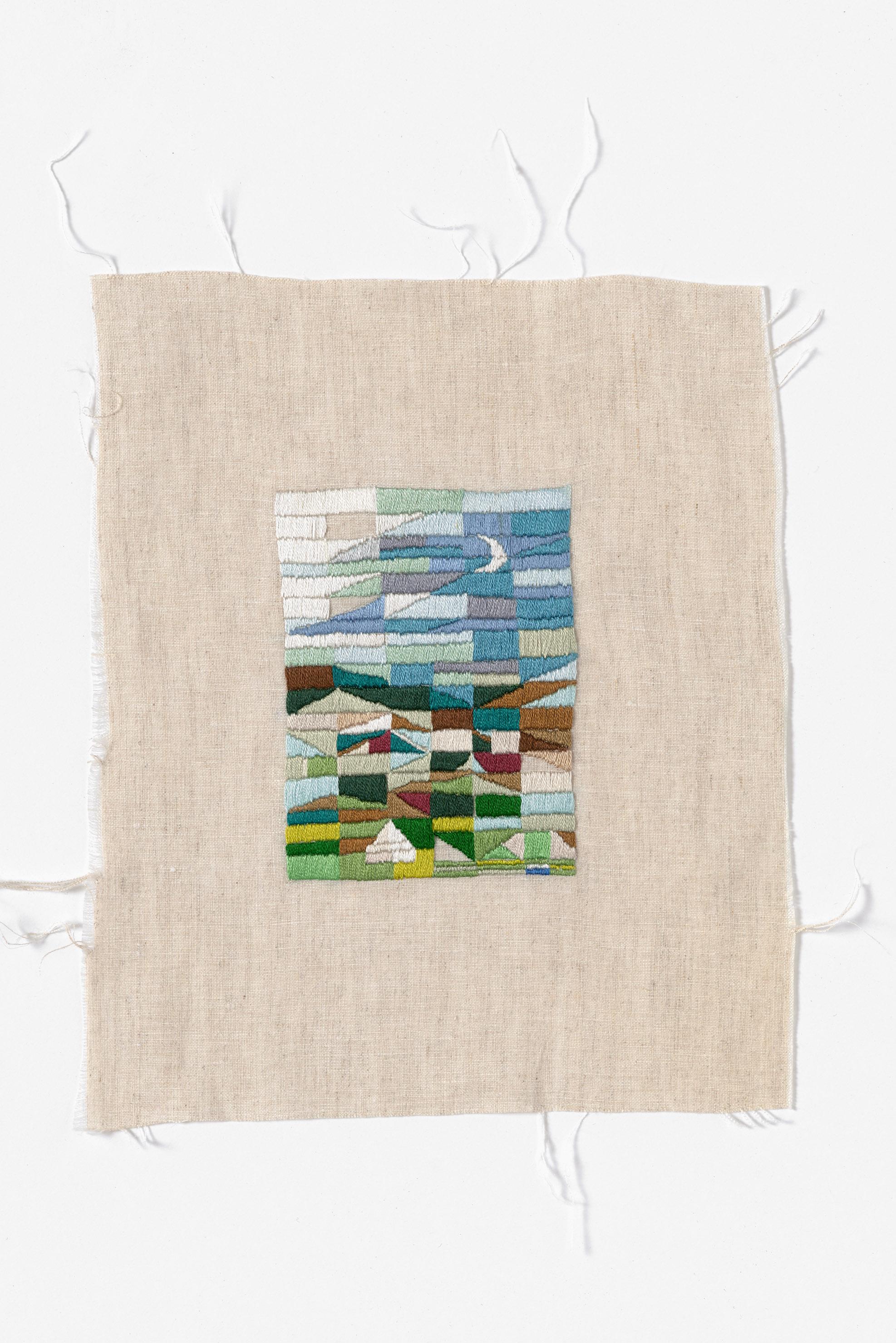 Longridge, midnight  2015 Cotton thread on linen 22 x 26cm