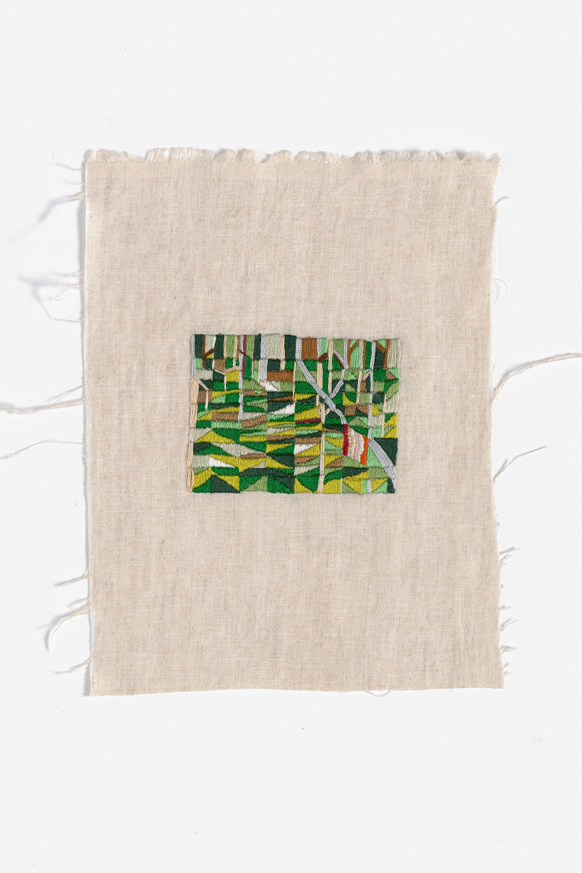 Back of camp, Walkerville  2015 Cotton thread on linen 19 x 25cm