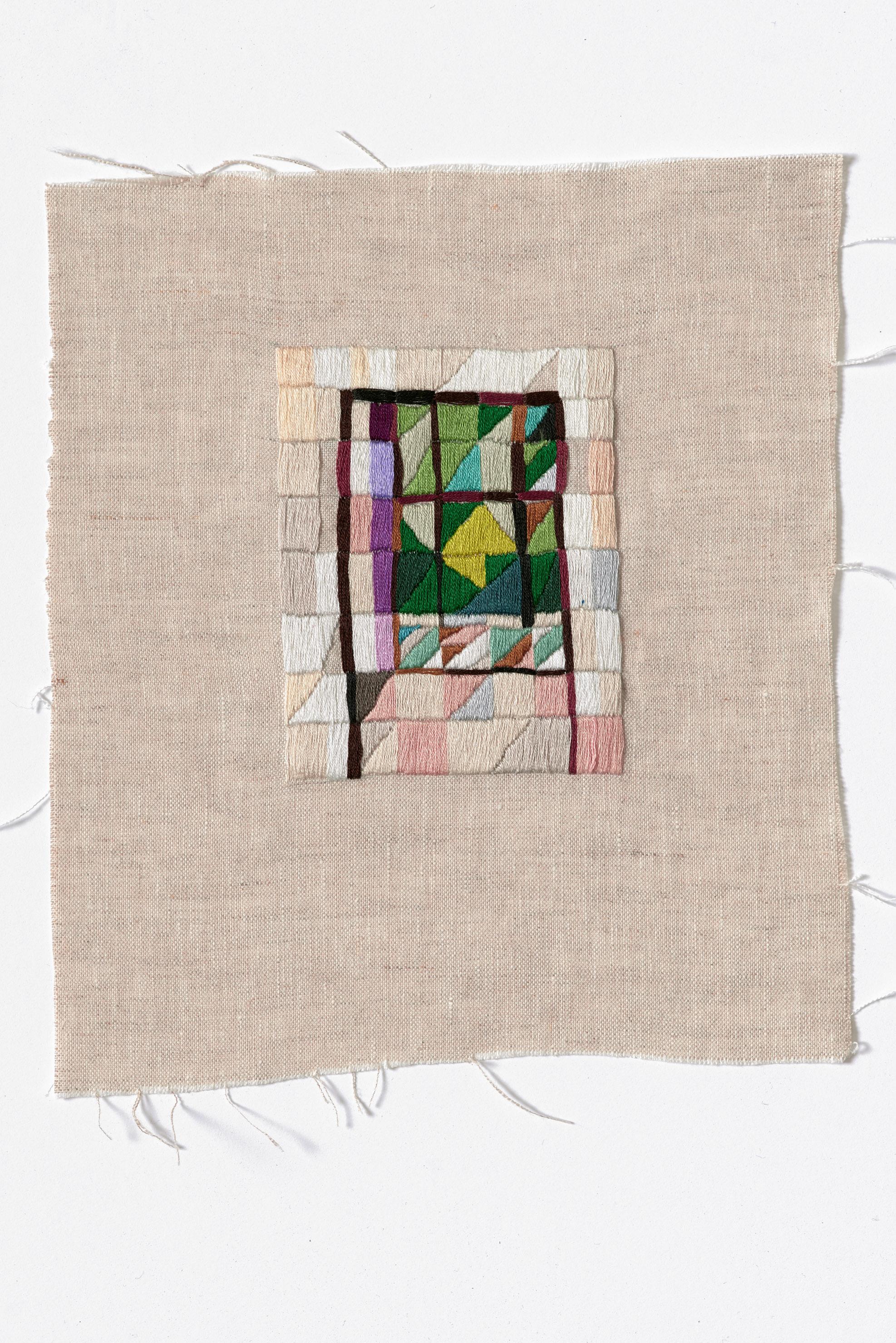 Corridor view, Monty  2015 Cotton thread on linen 24.5 x 28cm
