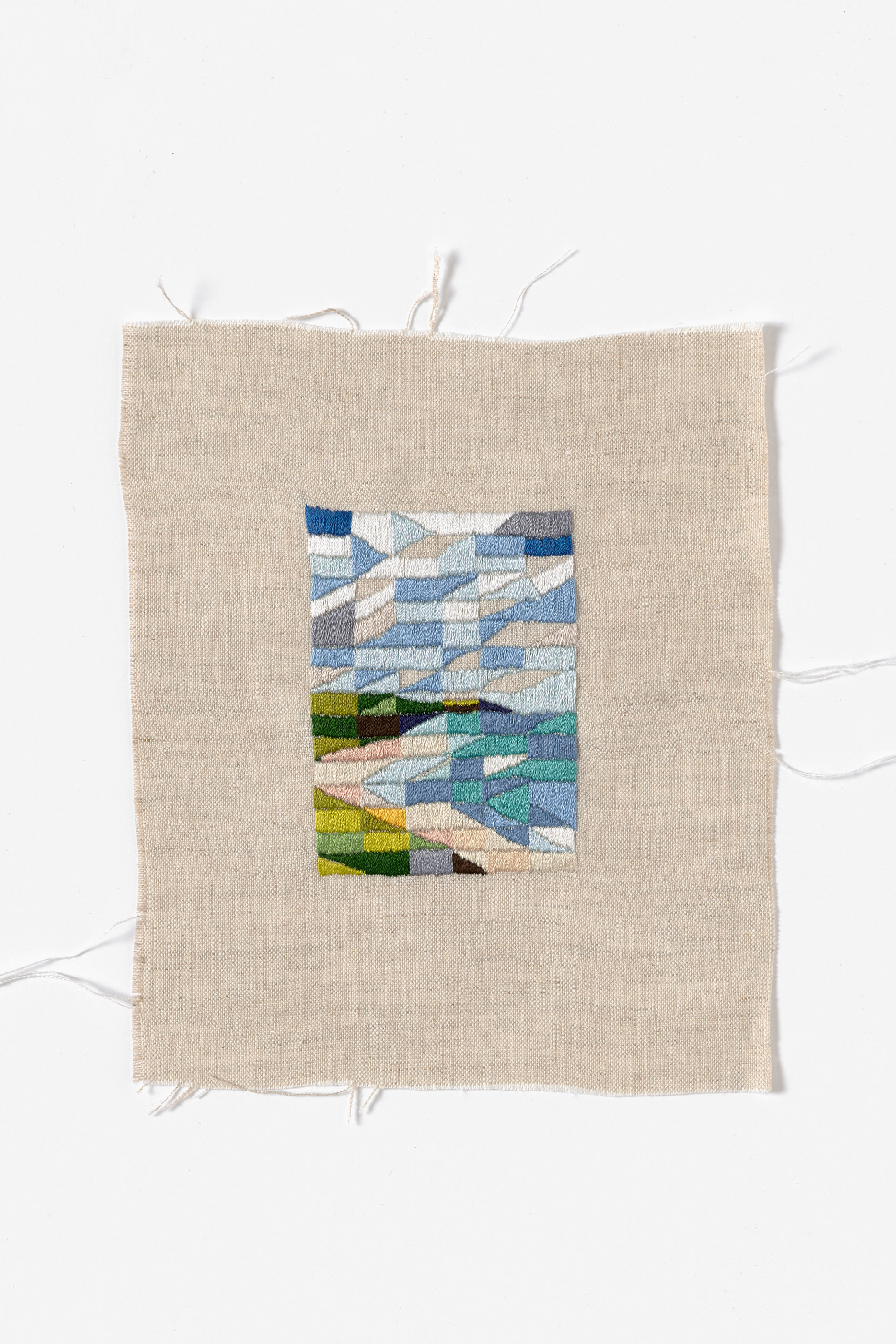 Looking North, Venus Bay  2015 Cotton thread on linen 21 x 27cm