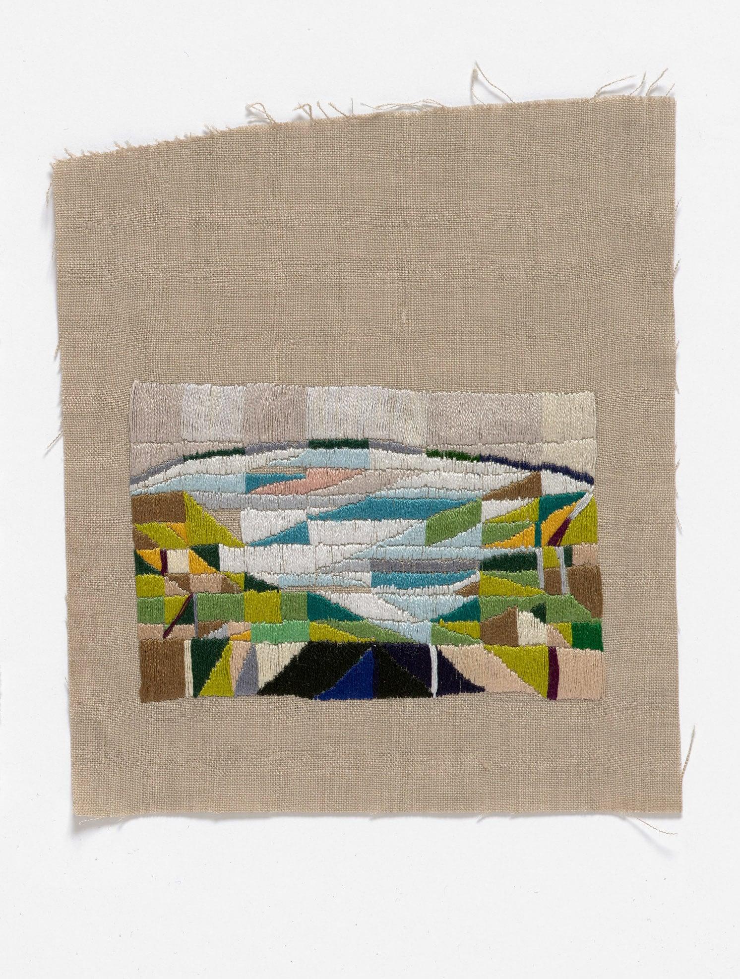 Roadtrip to Melinda's show  2015 Cotton thread on linen 17 x 20cm