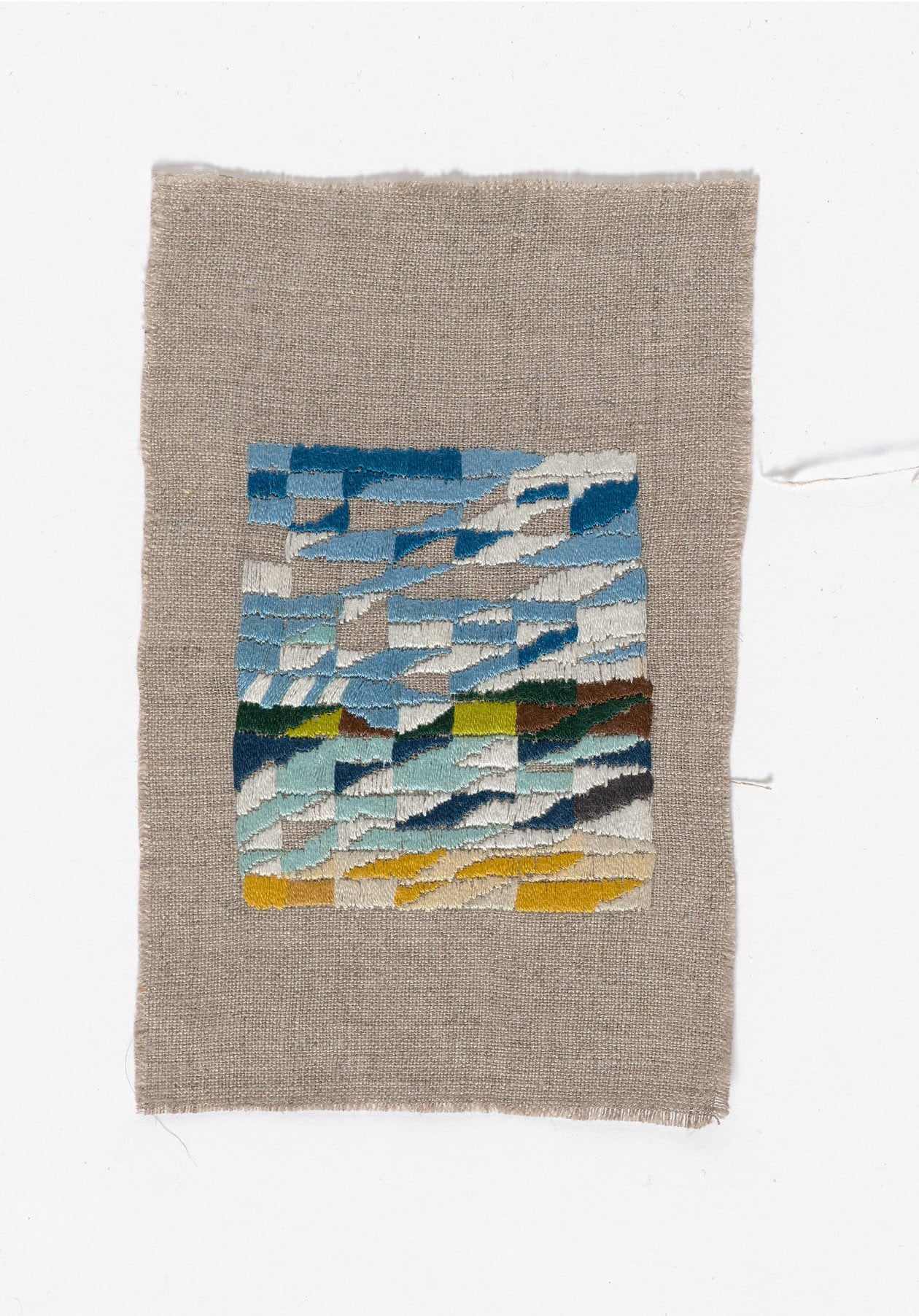 Silverleaves  2014 Cotton thread on linen 15 x 17.5cm