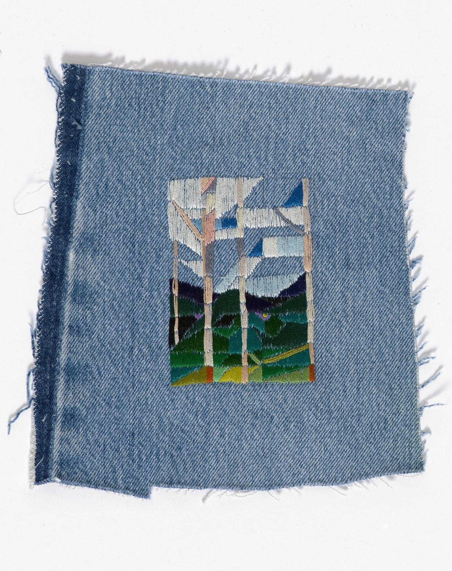 Return to the farm II  2015 Cotton thread on denim 18 x 20.5cm