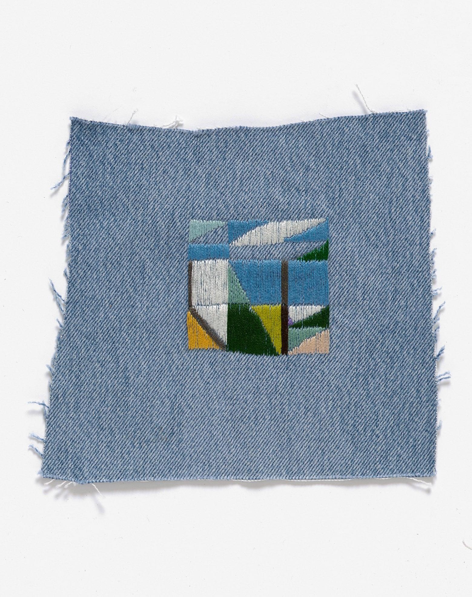 Return to the farm III  2015 Cotton thread on denim 18 x 17cm