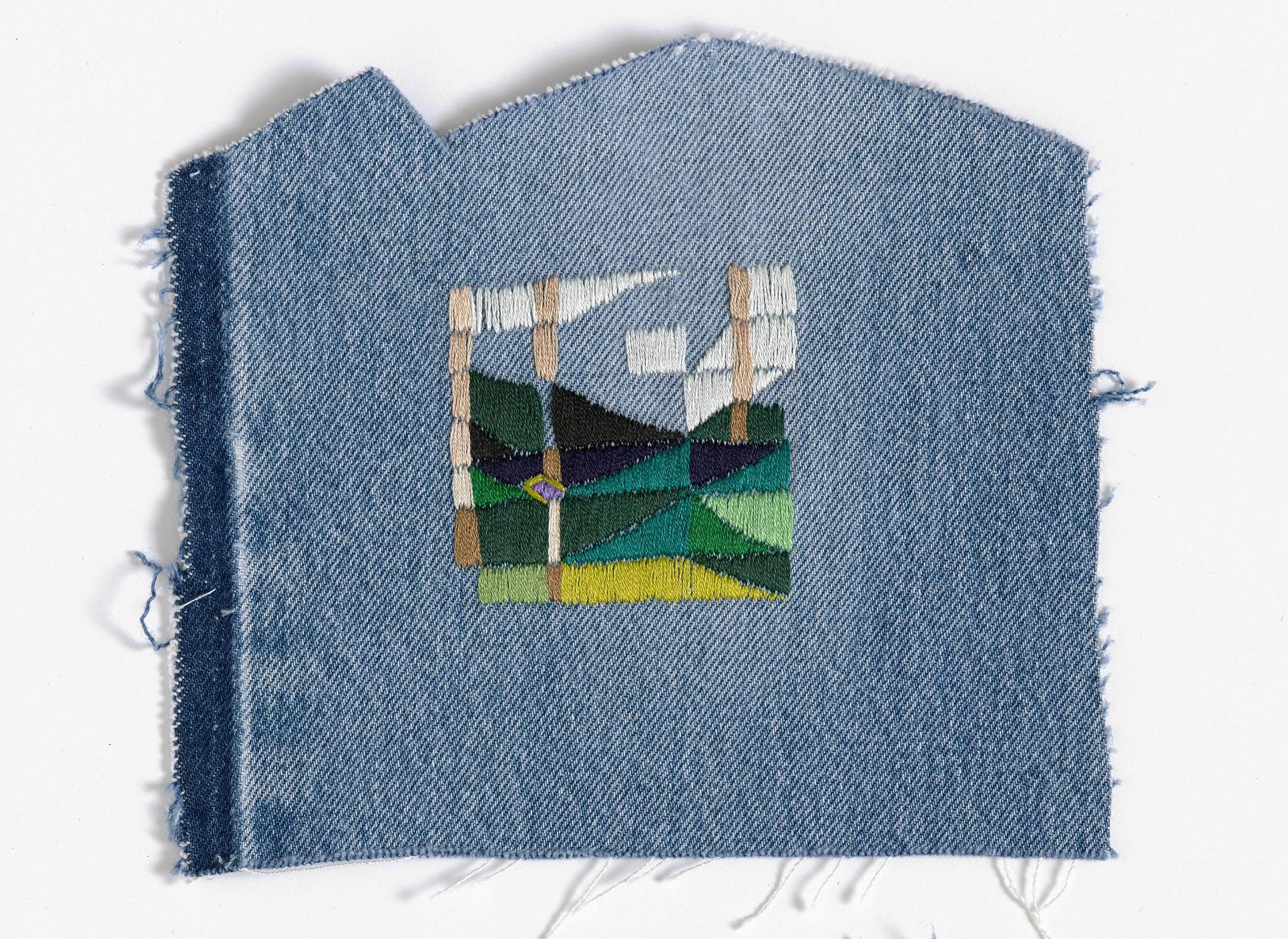 Return to the farm  2015 Cotton thread on denim 20 x 17cm