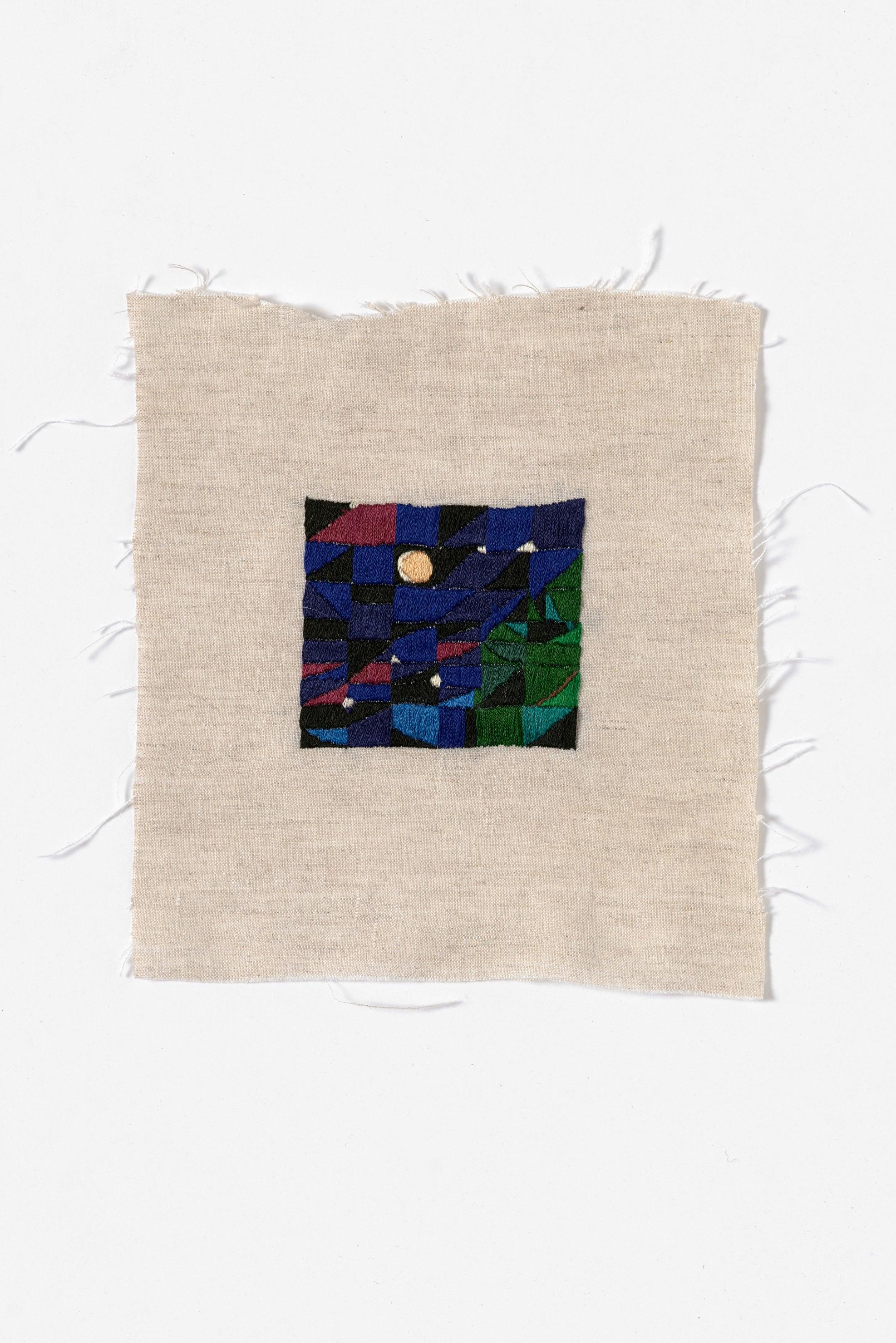 Campfire eclipse, Glen Forbes  2015 Cotton thread on linen 19.5 x 21.5cm