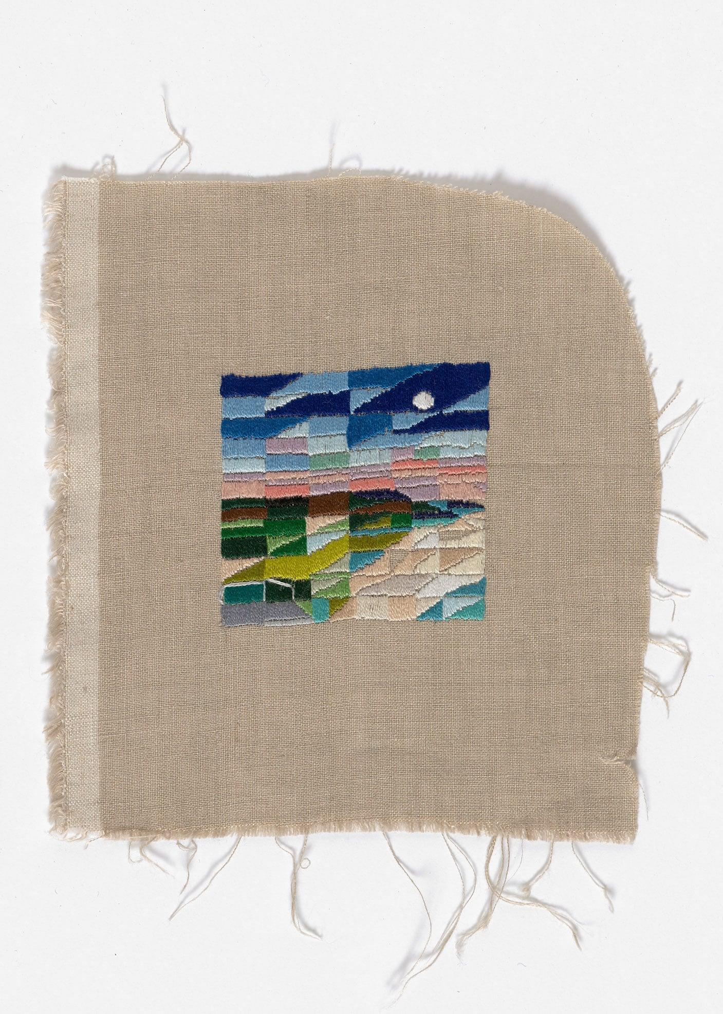 Hot Chocolate, Penguin Parade  2015 Cotton thread on linen 16.5 x 18cm
