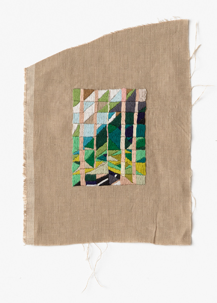 Cup Weekend, Black Spur  2016 Embroidery thread on linen 27 x 24cm