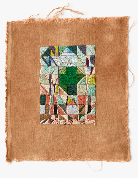 Resting on the hilltop, Labour Day  2016 Embroidery thread on naturally dyed linen 27 x 24cm