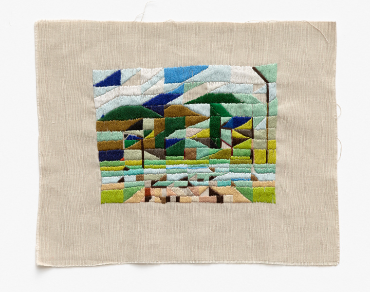 Crossing the ford with Katy  2016 Embroidery thread on linen 20 x 25cm