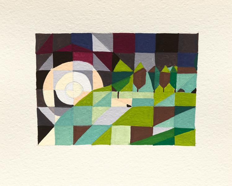 Easter Moon, Glen Forbes  2016 Gouache on paper 16 x 20cm