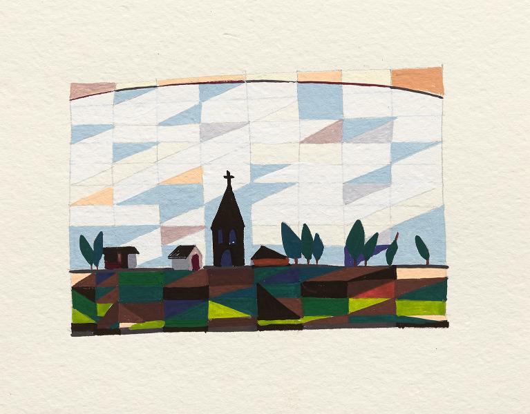 Town on the edge 2016 Gouache on paper 16 x 20cm