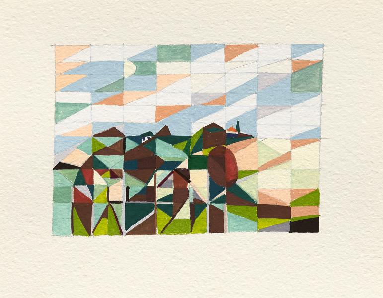 Parklands twilight  2016 Gouache on paper 16 x 20cm